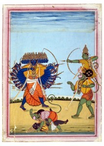 Rama_and_Hanuman_fighting_Ravana,_an_album_painting_on_paper,_c1820